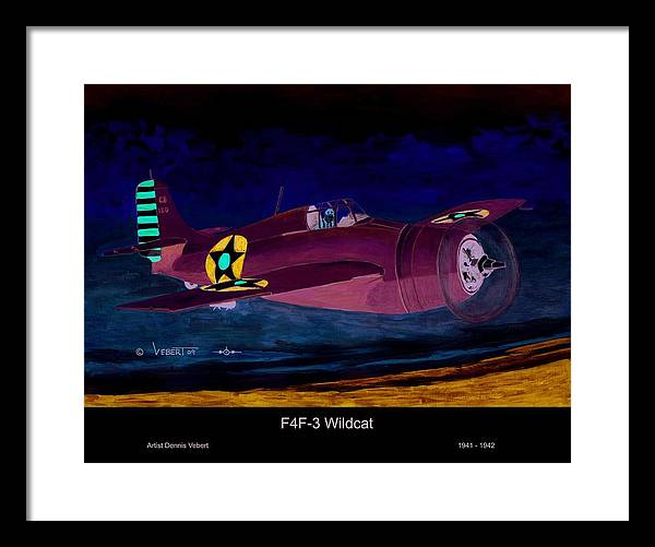 Wildcat Airplane Framed Print featuring the painting Wildcat by Dennis Vebert