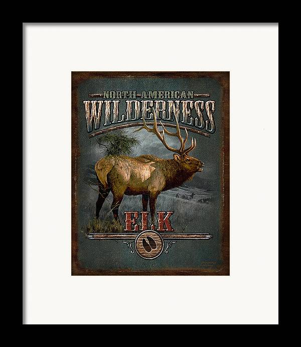 Bruce Miller Framed Print featuring the painting Wilderness Elk by JQ Licensing
