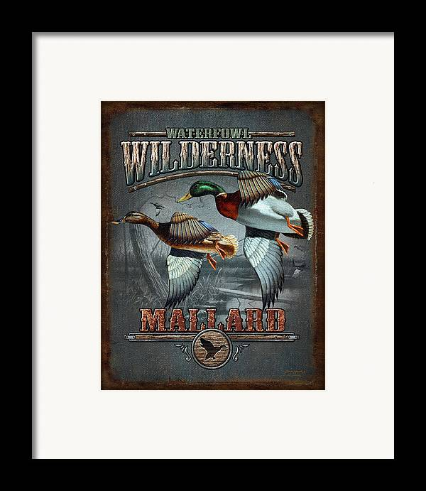 Bruce Miller Framed Print featuring the painting Wilderness Mallard by JQ Licensing