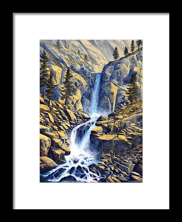 Wilderness Waterfall Framed Print featuring the painting Wilderness Waterfall by Frank Wilson
