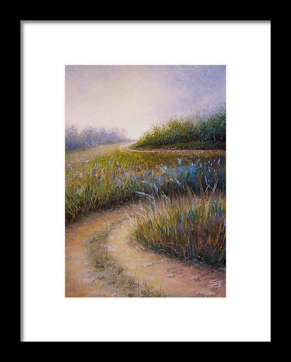 Lanscape Framed Print featuring the painting Wildflower Road by Susan Jenkins