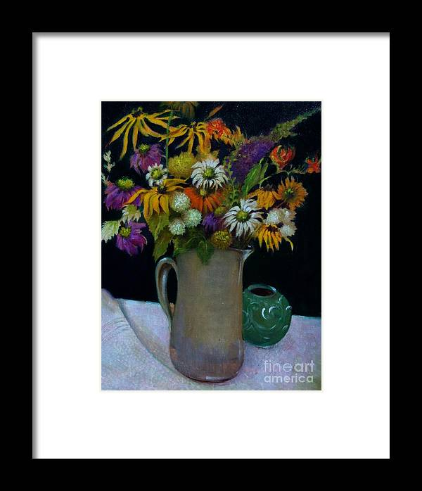 Greeting Card Framed Print featuring the painting Wildflowers In Black              Copyrighted by Kathleen Hoekstra