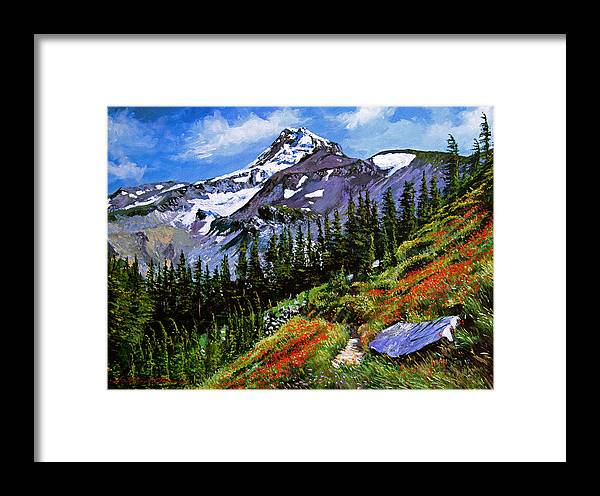 Mountain Framed Print featuring the painting Wildflowers Mount Hood by David Lloyd Glover