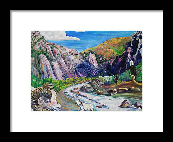 Wildlife Framed Print featuring the painting Wildlife On The Colorado River by George Chacon