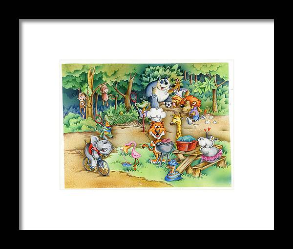 Wildlife Framed Print featuring the mixed media Wildlife Party by Patrick Hoenderkamp
