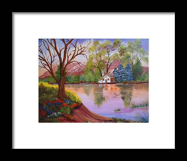 Landscape Reflection Building Church Lake Framed Print featuring the painting Wildwood Church by Sherry Winkler