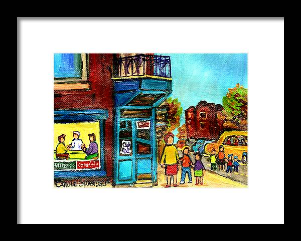 Montreal Framed Print featuring the painting Wilensky's Counter With School Bus Montreal Street Scene by Carole Spandau
