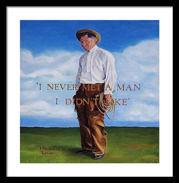 Oil Framed Print featuring the painting Will Rogers by Michael Lewis