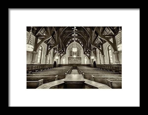 Willard Memorial Chapel Framed Print featuring the photograph Willard Chapel - Sepia by Stephen Stookey