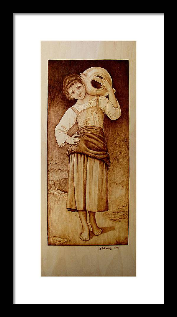 Pyrography Framed Print featuring the pyrography William Bouguereau Water Carrier by Jo Schwartz