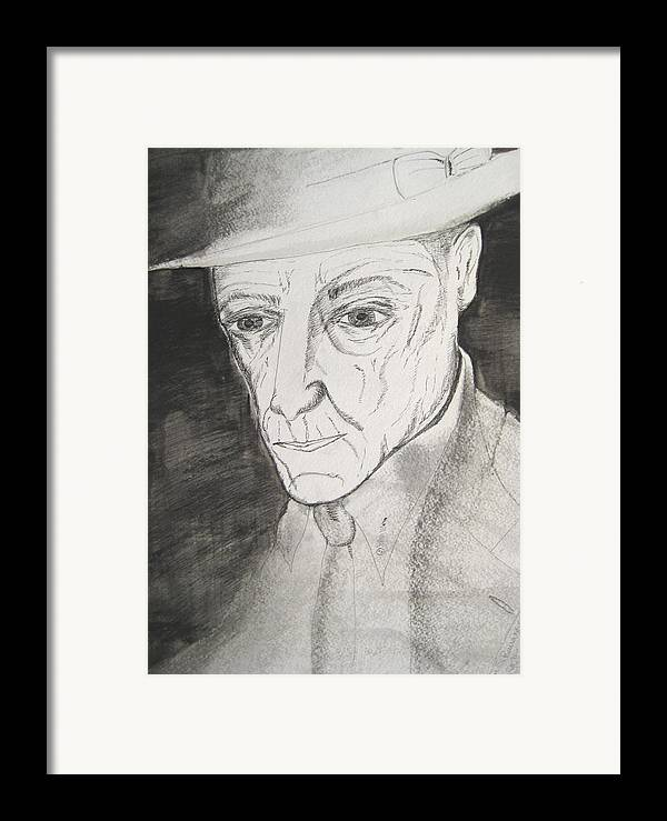 23 Author Black Burroughs Enigma Ink Man Music Painting Portrait Revolutionary Watercolor William Framed Print featuring the painting William S. Burroughs by Darkest Artist