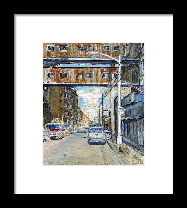 Cityscape Industrial New York Lamp Post Cars Cables Sky Framed Print featuring the painting Williamsburg4 by Joan De Bot