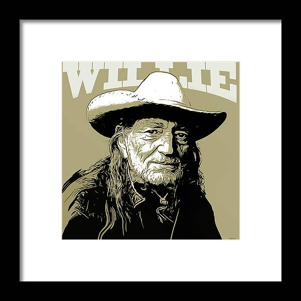 Willie Nelson Framed Print featuring the mixed media Willie by Greg Joens