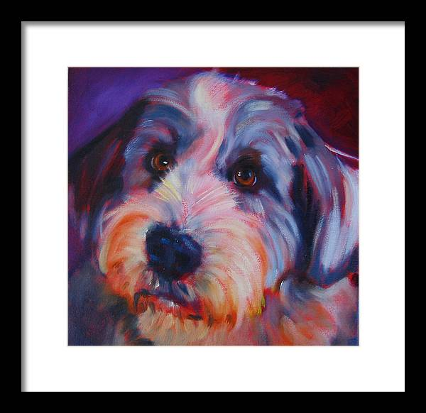 Old English Sheep Dog Framed Print featuring the painting Willie by Kaytee Esser
