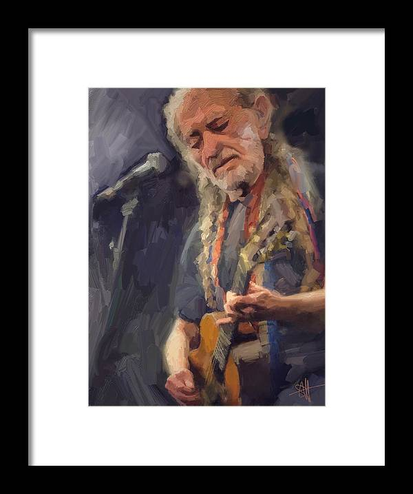 Willie Nelson Music Guitar {soc} Framed Print featuring the digital art Willie by Scott Waters