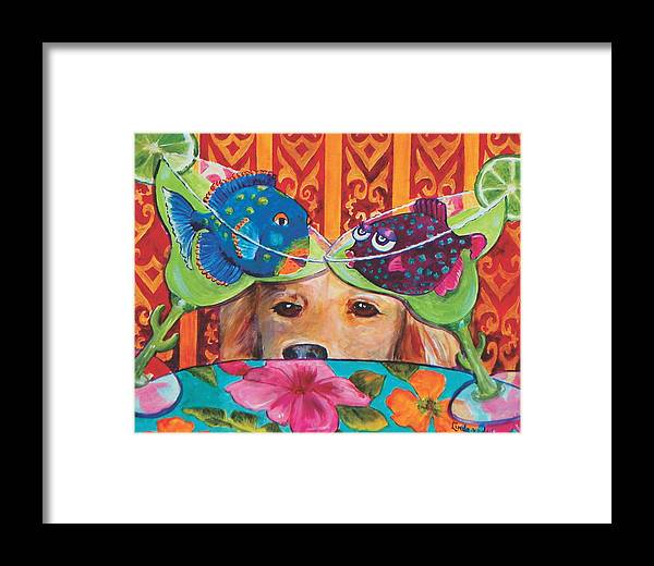 Margarita Framed Print featuring the painting Willie's Margarita Pals by Linda Kegley