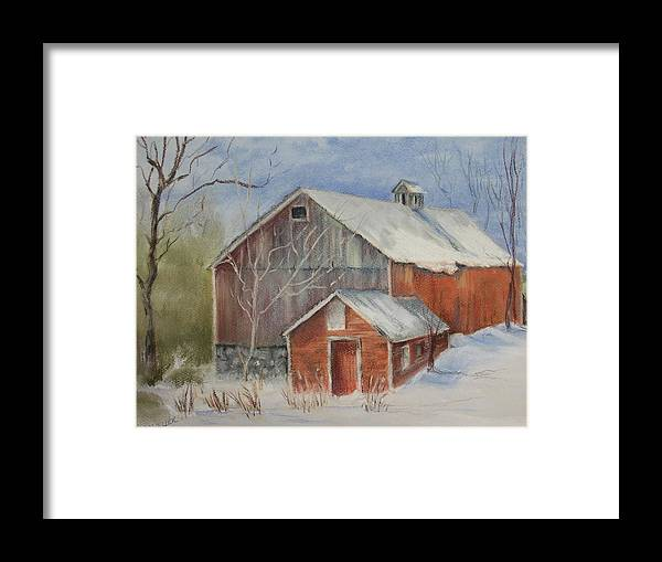 Barn Framed Print featuring the painting Williston Barn by Carol Mueller