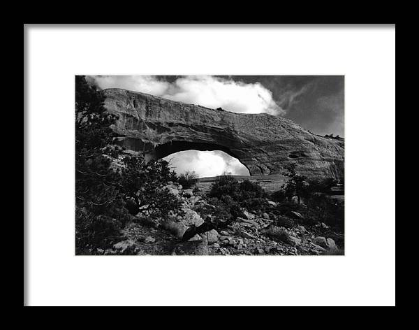 Wilson Arch Utah Landscape Scene Scenery Natural Bridge Black White Monochrome Framed Print featuring the photograph Wilson Arch No 1 by Ken DePue