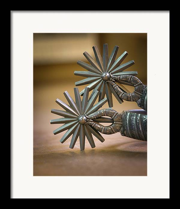Cowboy Gear Framed Print featuring the photograph Wilson Capron Spurs by Diane Bohna