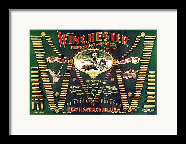 Cartridges Framed Print featuring the painting Winchester Double W Cartridge Board by Unknown