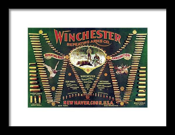 Outdoor Framed Print featuring the painting Winchester Double W Cartridge Board by Unknown