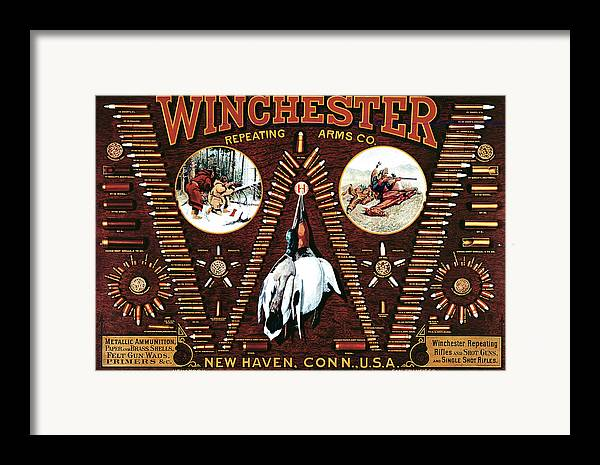 Cartridges Framed Print featuring the painting Winchester W Cartridge Board by Unknown