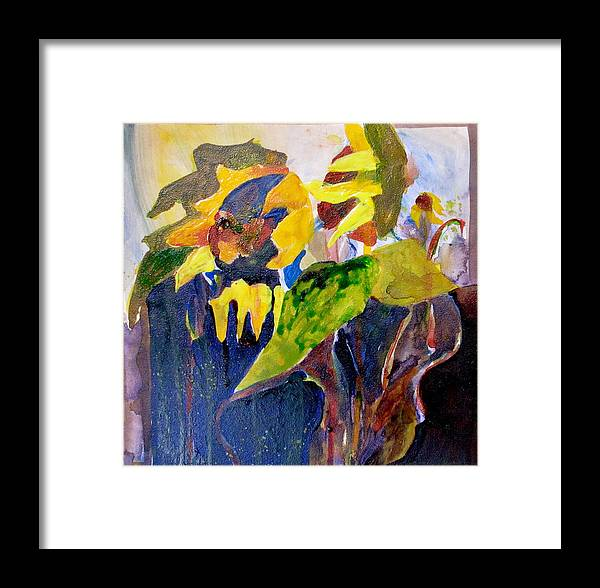 Sunflowers Framed Print featuring the painting Wind Blown Sunflowers by Carole Johnson