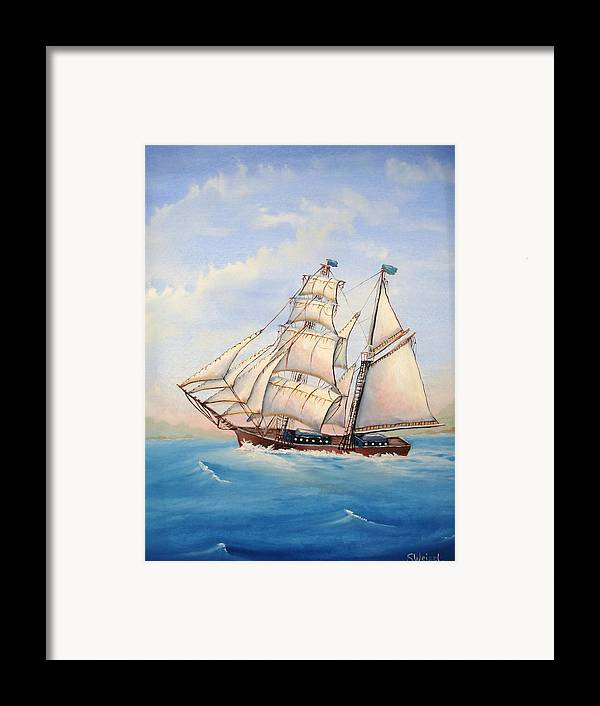 Schooner Boat Sea Ocean Landscape Wave Sail Blue Cream Brown Wave Framed Print featuring the painting Wind Surfer by Sherry Winkler