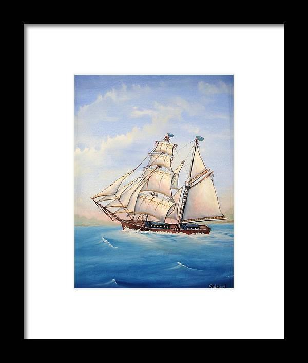 Schooner Boat Sea Ocean Landscape Wave Sail Blue Cream Brown Wave Framed Print featuring the painting Wind Surfer by Sherry Winkler