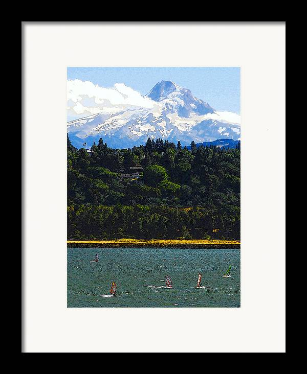 Art Framed Print featuring the painting Wind Surfing Mt. Hood by David Lee Thompson