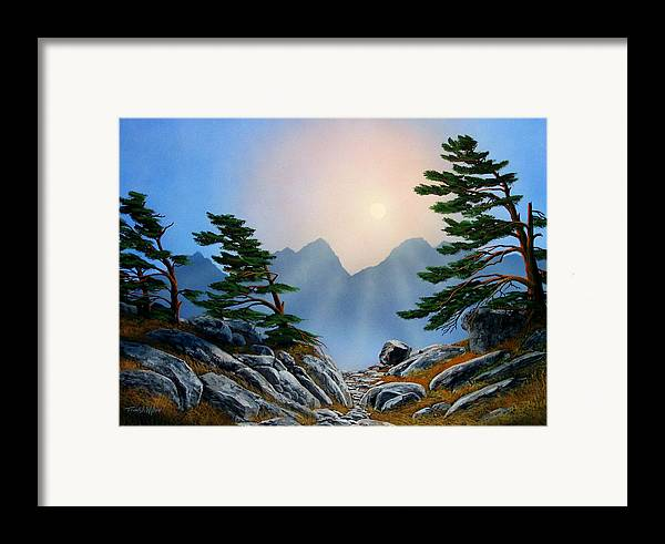 Windblown Pines Framed Print featuring the painting Windblown Pines by Frank Wilson