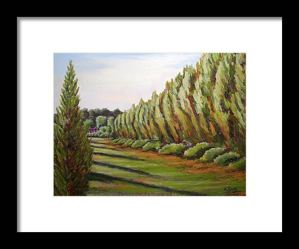 Oil Painting Framed Print featuring the painting Windbreak Evening by Karla Beatty