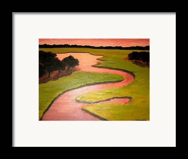 Landscape With River Framed Print featuring the painting Winding River by Sheryl Sutherland