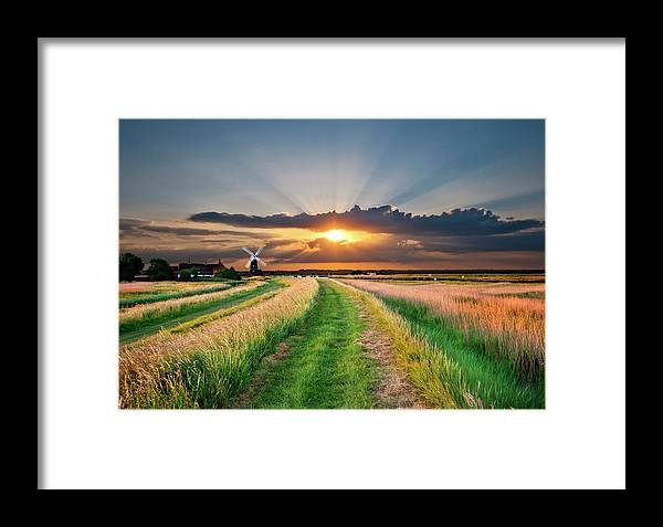 Windmill Framed Print featuring the photograph Windmill At Sunset by Meirion Matthias