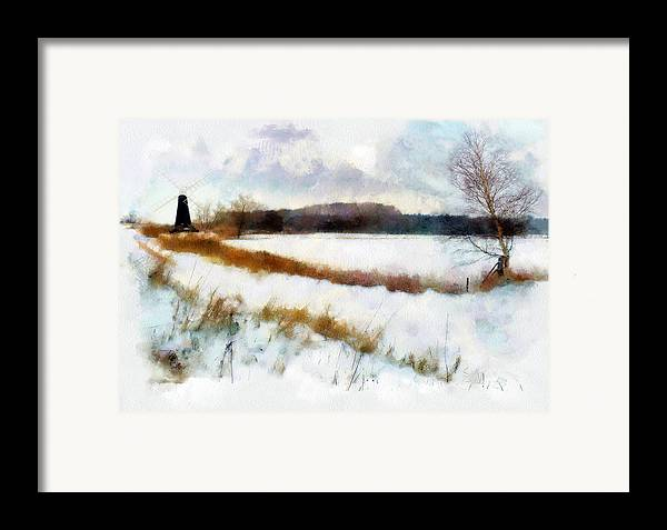 Landscape Framed Print featuring the painting Windmill In The Snow by Valerie Anne Kelly