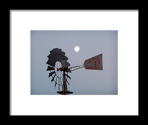 Windmill Framed Print featuring the photograph Windmill Moon by Gale Cochran-Smith