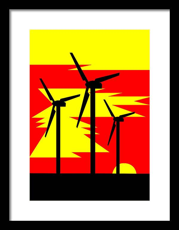 Windmill Sunrise Framed Print featuring the digital art Windmill Sunrise by Asbjorn Lonvig