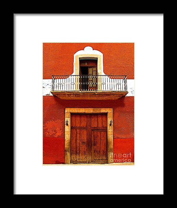 Darian Day Framed Print featuring the photograph Window Above The Wooden Door by Mexicolors Art Photography