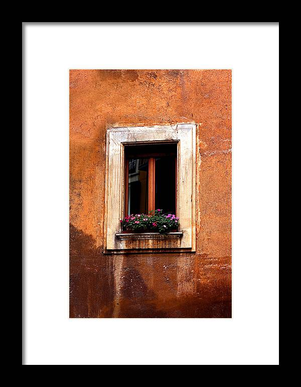 Italy Framed Print featuring the photograph Window And Flowers Rome by Xavier Cardell