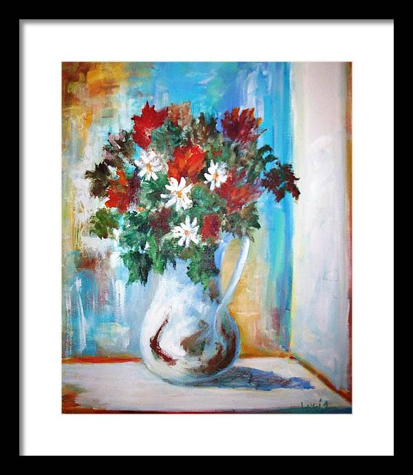 Vase. Flowers. French Light. Impressionism. Framed Print featuring the print Window Box by Carl Lucia