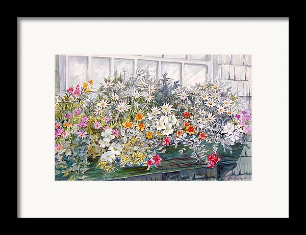 Floral;daisies;pastels; Framed Print featuring the painting Window Box In The Sun by Lois Mountz