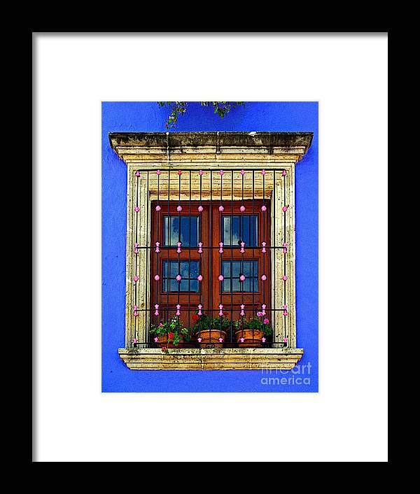 Tlaquepaque Framed Print featuring the photograph Window In Blue With Baubles by Mexicolors Art Photography