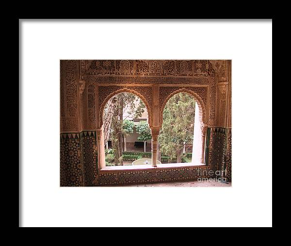 Window Framed Print featuring the photograph Window In La Alhambra by Thomas Marchessault
