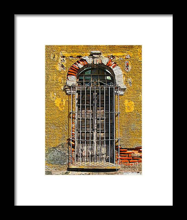 Darian Day Framed Print featuring the photograph Window In The Yellow Wall By Darian Day by Mexicolors Art Photography