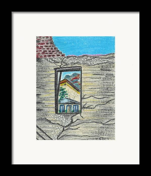 Window Framed Print featuring the drawing Window Jerome Az by Ingrid Szabo