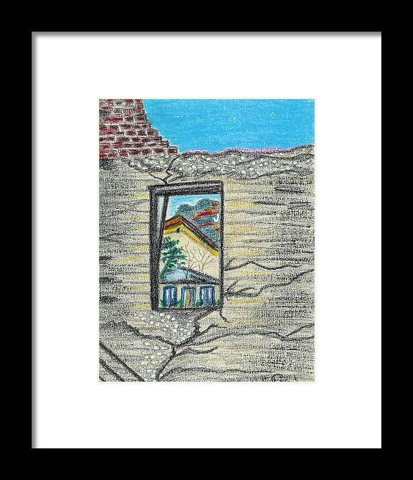 Window Framed Print featuring the drawing Window Jerome Az by Ingrid Szabo