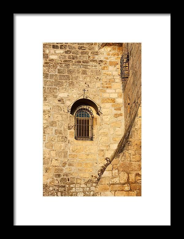 Window Framed Print featuring the photograph Window of Nativity church by Munir Alawi