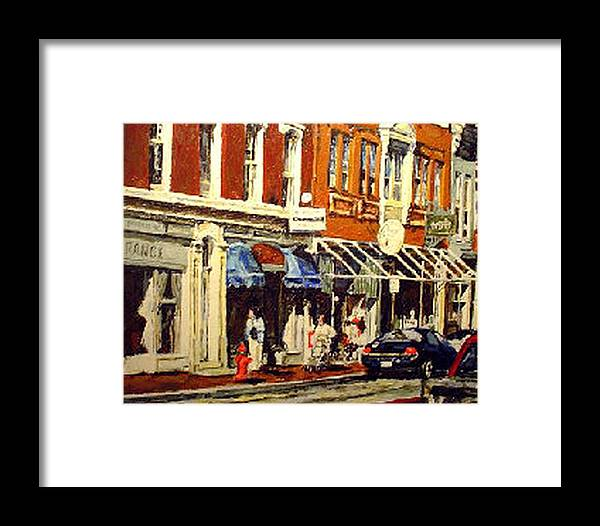 Cityscape Framed Print featuring the painting Window Shopping by Thomas Akers