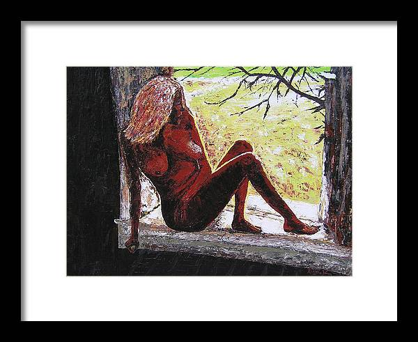 Portrait Framed Print featuring the painting Window View by Ricklene Wren