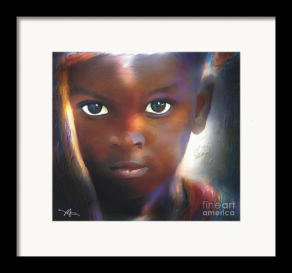 Portrait Framed Print featuring the painting Windows To The Soul by Bob Salo